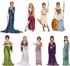 Greek Goddesses by ~LadyAraissa on deviantART, Amphitrite, Aphrodite, Artemis, Athena, Demeter, Hera, Hestia, Persephone, Psyche