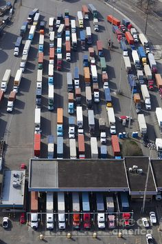 Aerial View Of Semi Trucks At Port Photograph  - Aerial View Of Semi Trucks At Port Fine Art Print