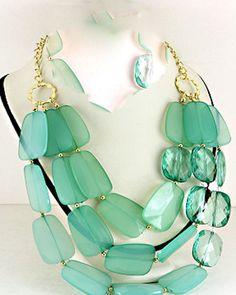 Hot Statement Necklace Aqua Blue and Mint Color Block by kiecap, $28.50