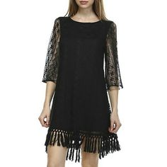 Black Boho Hippie Fringe Lace Tunic Dress ETA on the 14th.  Order for this item will ship on the 15th.   Coachella ready tunic dress. Boho style vintage looking lace details. Cotton macrame fringe trimming at skirt hem. 1/2 length sleeves. 80% Cotton, 20% Nylon. 100% Polyester lining. Fully lined. Reminiscent of Free People. Boutique Brand Retail Dresses
