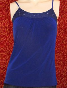 NWT LIMITED dark blue spaghetti strap polyester blend cami blouse S (T07-0DE6G) #NewYorkCompany #TankCami #Casual