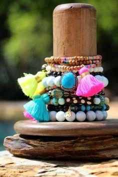 Boho Tassel Sandalwood Wrap Bracelet w by HappyGoLuckyJewels