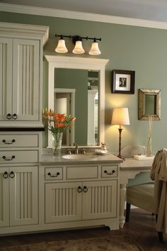 This spacious vanity area allows for storage as well as comfort.