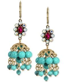 Betsey Johnson Gold-Tone Faceted Stone Cluster and Blue Bead Chandelier Earrings
