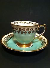 GREEN WITH GOLD TRIM~ VINTAGE ROYAL ALBERT BONE CHINA ENGLAND ~ CUP AND SAUCER