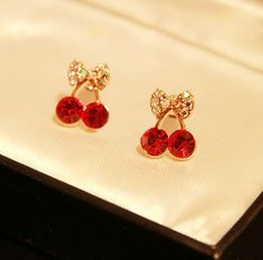 charming Small Red Cute Cherry Earrings For Female