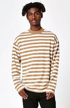 Starfish Striped Boxy Mock Neck Long Sleeve T-Shirt