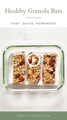 Healthy homemade granola bars using almond butter, nuts, seeds and dark chocolate for a delicious, healthy snack. Just 5 ingredients with optional add-ins Healthy Homemade Snacks, Good Healthy Recipes, Vegan Snacks, Easy Snacks, Homemade Granola Recipes, Healthy Snacks Vegetarian, Healthy Snack Recipes, Delicious Snacks, Dinner Healthy