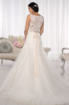 Slim A-line wedding gown with a stunning illusion Lace neckline and back. Essense Of Australia, Spring 2014