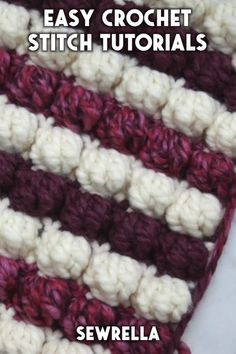 Easy Crochet Stitches - free tutorials These crochet stitches are easier than you might think with my free video tutorials! The techniques Crochet Block Stitch, Easy Crochet Stitches, Crochet Cable, Bobble Stitch, Easy Knitting, Knitting For Beginners, Free Crochet, Crochet Patterns, Knitting Patterns