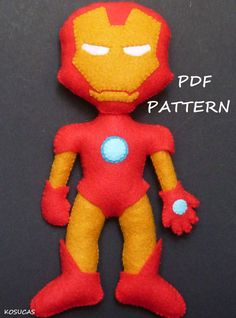 PDF sewing pattern to make a felt Iron Man 7.2 inches tall. It is not a finished doll. Includes tutorial with pictures and step by step explanation. For hand sewing. Difficulty: medium Instructions in Spanish-English. Things to do with this pattern can be sold in your own shop. Mass