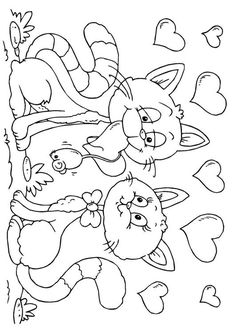 Image detail for -Coloring page Valentine cats - img 24608.