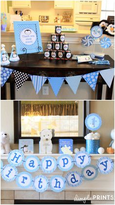 Penguin and Polar Bear Personalized PrintableParty Package...Winter.....ONEderland..by DimplePrints. $20.00, via Etsy.