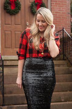Buffalo Check shirt & Black sequin skirt