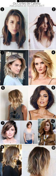 Corte de cabelo feminino 2017: os 10 cortes de cabelo mais pinados do mundo! São cortes lindos, de tamanhos diversos, pra todo tipo de cabelo!