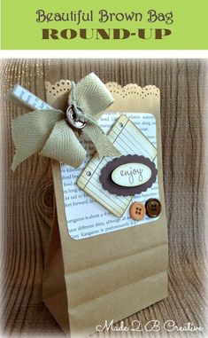 Brown Bag Gift Bag Round Up: Made 2 B Creative - bags leather handbags, bags & purses, trendy bags *ad Paper Bag Crafts, Wrapping Paper Crafts, Paper Gift Bags, Gift Wrapping, Retreat Gifts, Women's Retreat, Retreat Ideas, Decorated Gift Bags, Boite A Lunch