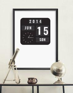 Flip clock Poster with your own date   Flipclock-plakat Personlig