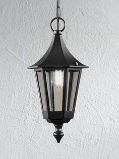 LA1601-1 Boulevard porch pendant light, matt black aluminium. Italian matt black die-cast aluminium fitting with clear polycarbonate lenses. 1 x 60w E27 Lamp not included Height- 100cm (max) Diameter- 18.5cm BRAND- Franklite REFERENCE- LA1601-1 AVAILABILITY: 3-4 Working Days