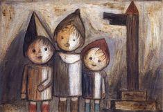 Tadeusz Makowski - Troje dzieci pod drogowskazem 1930