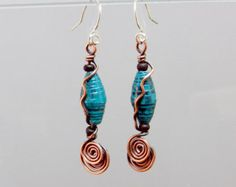 Turquoise paper bead with double copper coil earrings