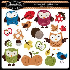 Autumn Owl Clip Art for digital scrapbooking, cardmaking, and commercial use.. $4.99, via Etsy.