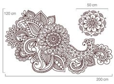 Florais para decoração de paredes - Floral Indiano - Decoração em vinil Autocolante decorativo e Papel de parede