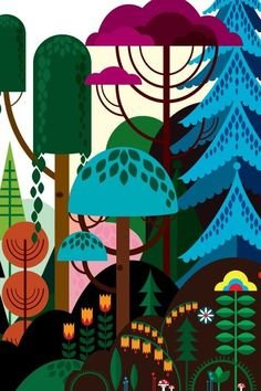 Baby's room: good for boy or girl and goes well with the deep yellow. Blik Wall Decals: Imaginary Forest by Patrick Hruby. Graphic art and design Art Lessons, School Murals, Illustration, Drawing Illustrations, Art, Wall Painting, Forest Mural, Forest Illustration, Prints