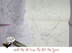 """World Map and European """"pop-out map"""" Spread in your Bullet Journal"""