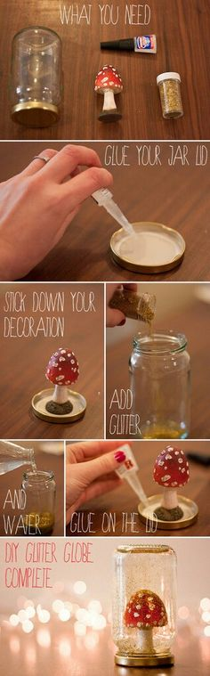 Re-use jars + thrifted ornament + super glue + water + glitter= diy glitter snowglobes