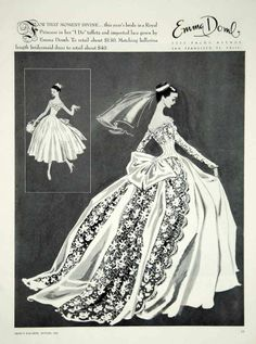 1956 Ad Vintage Emma Domb Wedding Dress Bride Bridesmaid Fashion Illustration