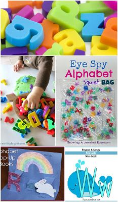 A collection of fun ways for kids to learn the alphabet - sensory activities, art, free printables, and even using legos- tons of ideas!