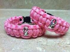 Paracord Breast Cancer Awareness Bracelet by ForgetMeKnotParacord, $8.00
