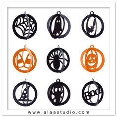 3D Halloween fall hanging ornaments cutting files templates in SVG, DXF, PDF formats. $6.00, via Etsy.