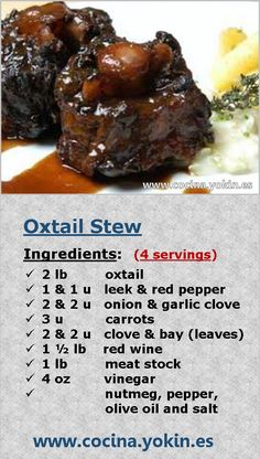 OXTAIL STEW – A traditional dish that is becoming more difficult to find. The pr… OXTAIL STEW – A traditional dish that is increasingly difficult to find. The preparation time is long, but not difficult. It's worth cooking. Oxtail Recipes Easy, Meat Recipes, Cooker Recipes, Recipies, Curry Recipes, Jamaican Dishes, Jamaican Recipes, Jamaican Oxtail, Jamaican Cuisine