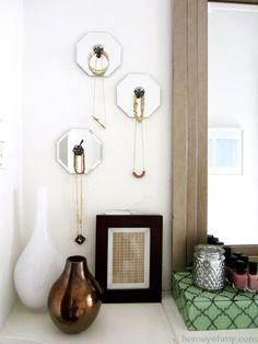 DIY Espelho Jóias cabides de parede - Caseiro Oh My!