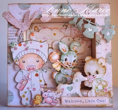 From our Design Team! Card by Anne-Maree Campbell featuring Baby Marci and these Dies - Baby clothesline,  Stork, Rocking horse,  Stitched sun and clouds :-) Shop for our products here - http://lalalandcrafts.com/ Coloring details and more Design Team inspiration here - http://lalalandcrafts.blogspot.ie/2016/08/anything-goes.html