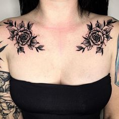 Check out the best posts, the most popular tattoo artists and inspiration for your next tattoo. Dope Tattoos, Cool Chest Tattoos, Chest Piece Tattoos, Mini Tattoos, Pieces Tattoo, Badass Tattoos, Body Art Tattoos, Tribal Tattoos, Rose Chest Tattoo