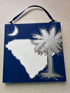 Blue Silver White South Carolina Tree, State, and Moon 6x6 Painting by BeadsNBrushes on Etsy