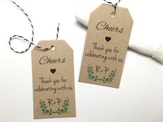 Rustic Gift Tag Tag, Personalized Gift Tag - Bridal Shower Tag - Thank You Tags Thank You for Celebrating With Us - Set of 50 tags #---
