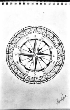 Compass Drawing Sketch Black And White Tattoo #LampDrawing