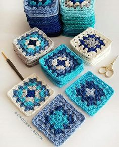 Crochet Blocks, Granny Square Crochet Pattern, Crochet Squares, Crochet Granny, Crochet Blanket Patterns, Crochet Motif, Crochet Designs, Crochet Yarn, Granny Squares