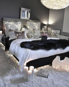 comfy grey bed with lights
