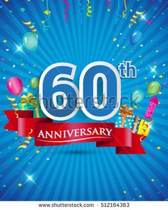 Celebrating 60 years Anniversary logo, with confetti and balloons, red ribbon, Colorful Vector design template elements for your invitation card, flyer, banner and poster.
