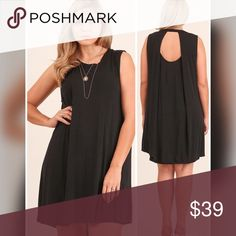 "💣PLUS💣NEW💣The Lili Keyhole Dress-Black Sleeveless with keyhole back. 55% cotton 45% polyester. XL - Length 33.5"" front 36"" back, 43"" Bust, 50"" hips. 1X bust 44"", 51"". 2X 45"", 52"". Dresses"