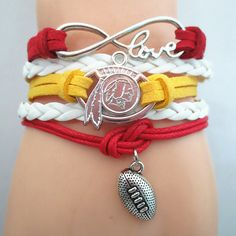 Infinity Love Washington RedSkins Football - Show off your teams colors! Cutest Love Washington RedSkins Bracelet on the Planet! Don't miss our Special Sales Event. Many teams available. www.DilyDalee.co
