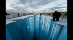 """More amazing work from Edgar Mueller, German street artist: A video on the making of The Crevasse, above: . And for lots of """"Street Art in Germany"""" – go here. 3d Street Art, 3d Street Painting, Street Art Utopia, Amazing Street Art, 3d Painting, Street Artists, Art Paintings, Floor Painting, Street Mural"""