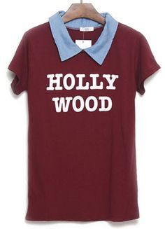 Wine Red Short Sleeve HOLLY WOOD Print T-Shirt pictures