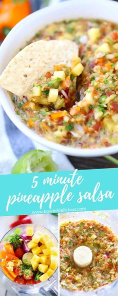 5 Minute Pineapple Salsa - This pineapple salsa recipe is great on chicken, fish, on tacos, or as a dip with chips! Mexican Food Recipes, Real Food Recipes, Cooking Recipes, Ethnic Recipes, Pineapple Recipes, Pineapple Salsa, Healthy Nutrition, Healthy Snacks, Healthy Recipes