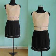 Vintage 60's short A-line dress/ black and nude door Manrinavintage