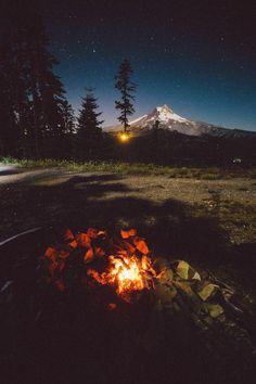 Campfire + mountains + starry sky